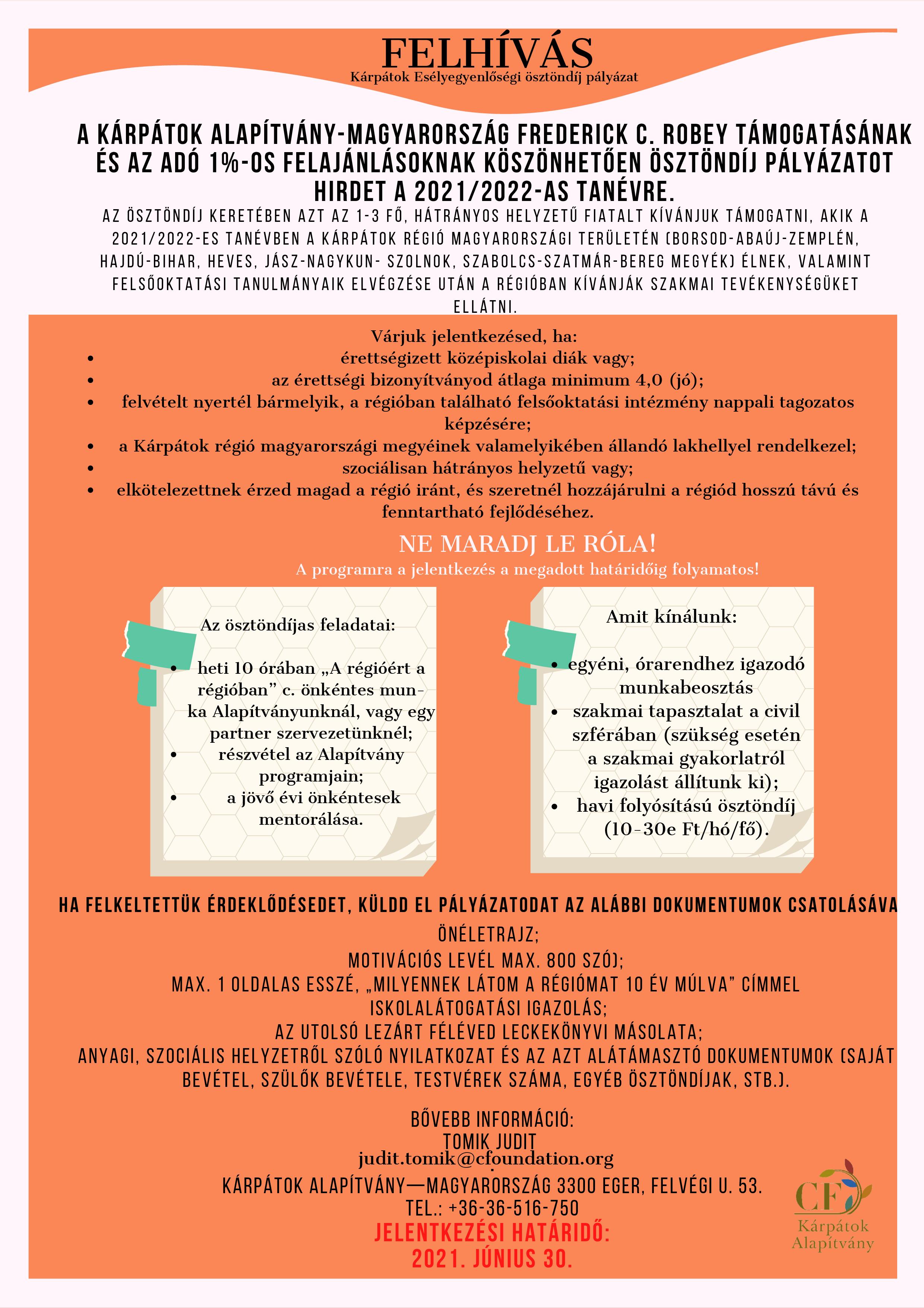 Kárpátok Esélyegyenlőségi Ösztöndíj Program