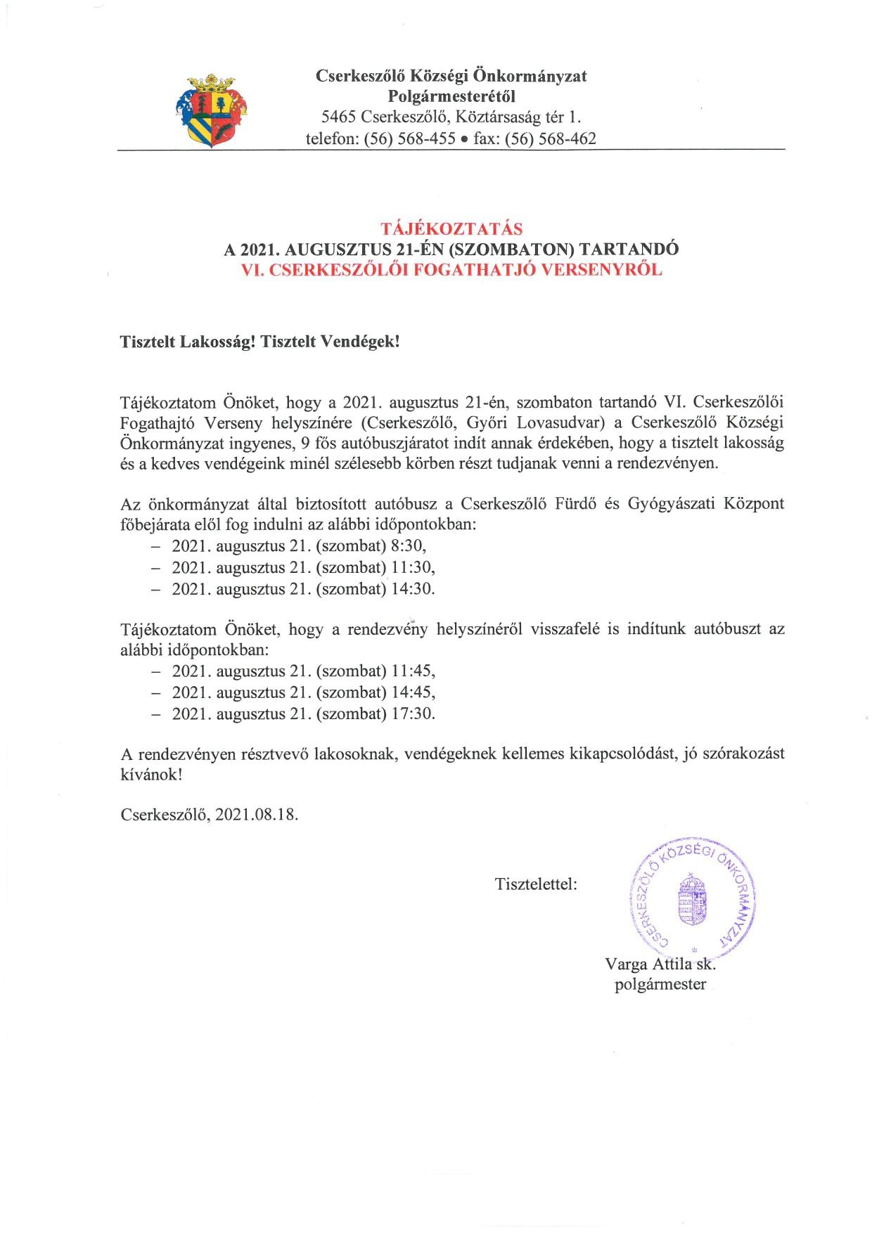 Tájékoztatás a VI. CSERKESZŐLŐI FOGATHAJTÓ VERSENYRŐL